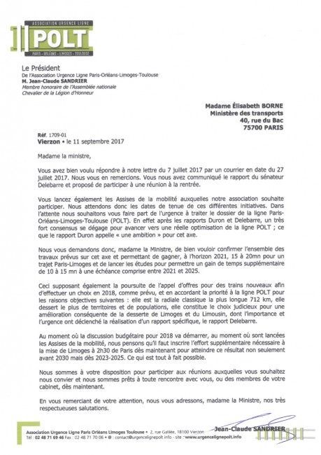 courrier ministre transport 110917